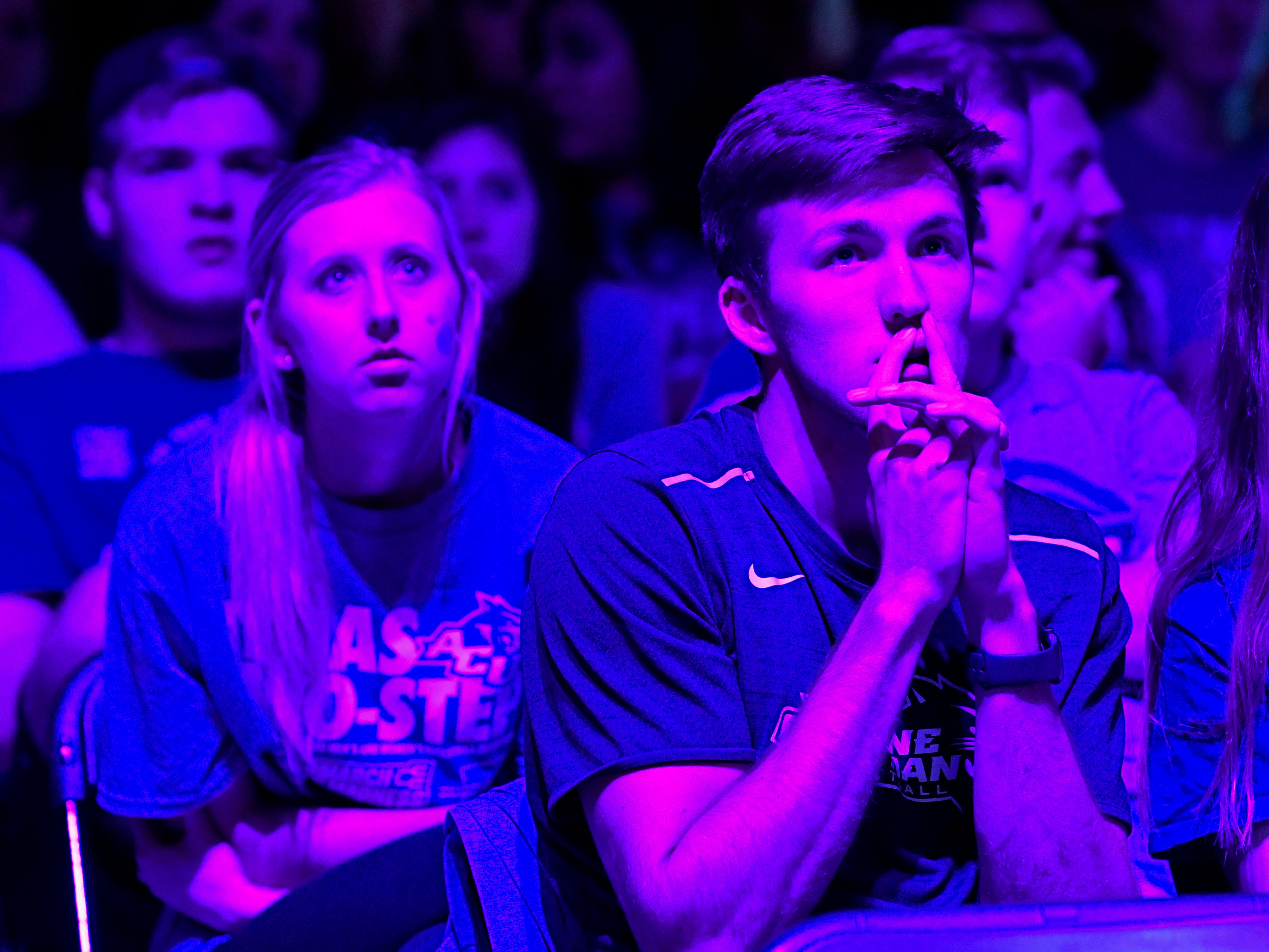 Cole Palka watches the final moments of the Abilene Christian University men's team game against basketball powerhouse University of Kentucky Thursday March 21, 2019. ACU held a watch party in Moody Coliseum for fans to watch the Wildcats teams play in their first-ever trip to the NCAA Tournament. Final score was 79-44, Kentucky.