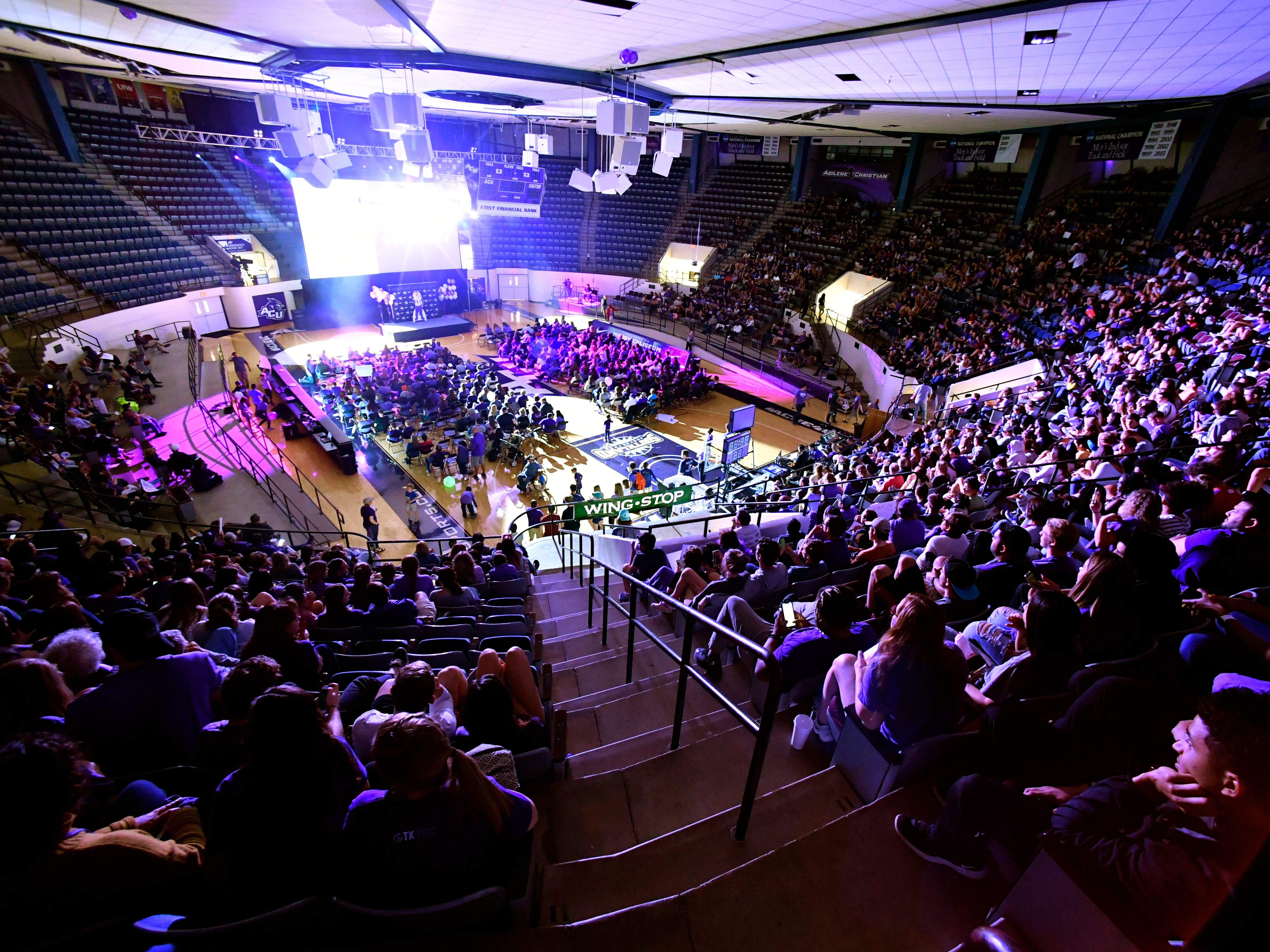Fans watch in Moody Coliseum as the Abilene Christian University men's basketball team plays the University of Kentucky in ACU's first-ever trip to the NCAA Tournament Thursday March 21, 2019. Final score was 79-44, Kentucky.