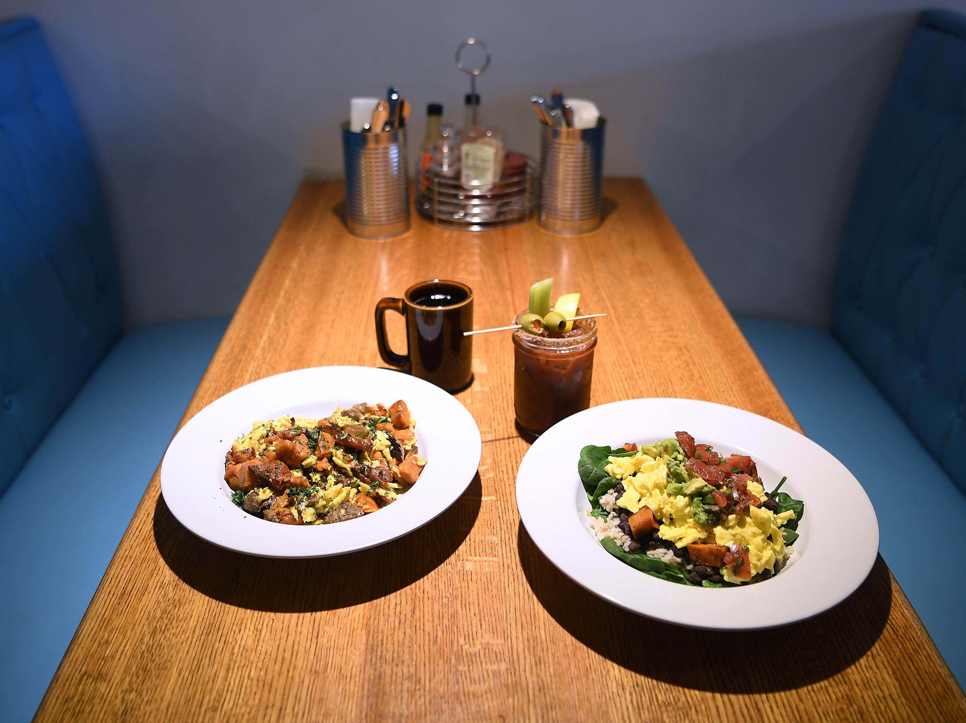 Two breakfast bowls at Early Girl's West Asheville location are the local sausage and sweet potato scramble and the veggie breakfast bowl.