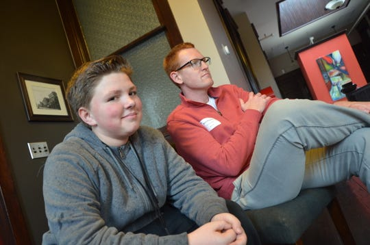 Jonathon Michaud (left) accompanied his Big Brother from the Big Brothers Big Sisters Bigs in Business program, Adam Kingston, to part of a Battle Creek Community Foundation event.