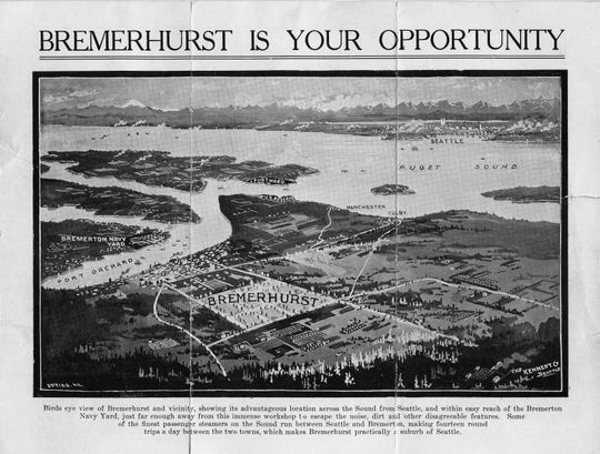 """Shown circa 1915 is an advertisement for homesites on the uplands above downtown Port Orchard.  The ad for """"Bremerhurst""""  promises that the development is  far enough away to escape the """"noise, dirt and other disagreeable features"""" of the Bremerton Navy Yard across the bay. To see more photos from the Kitsap County Historical Society Museum archives, visit facebook.com/kitsaphistory, kitsapmuseum.org, or stop by the museum at 280 Fourth St. in Bremerton. Call 360-479-6226 for information."""