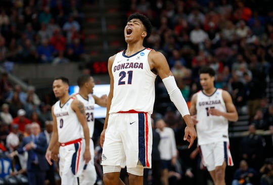 Gonzaga forward Rui Hachimura (21) celebrates after Gonzaga scored against Fairleigh Dickinson during the first half of a first-round game in the NCAA men's basketball tournament.
