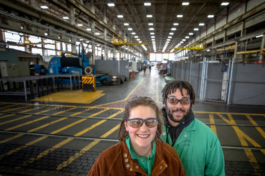 Katherine LaPierre, left, and her partner Elijuadaine Jeremiah Johnson, of Belfair, are both welders with Shop 26, the welding shop, at Puget Sound Naval Shipyard and Intermediate Maintenance Facility in Bremerton.