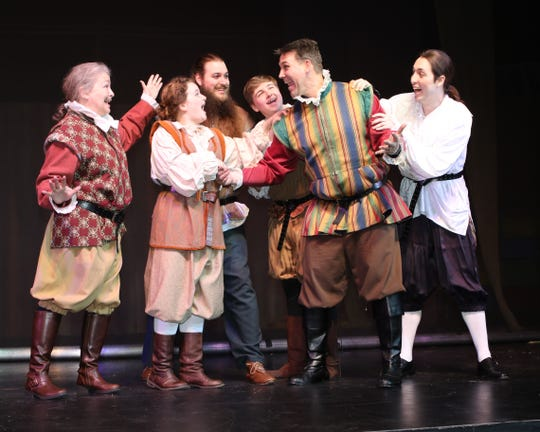 Nick Bottom (Geoff Schmidt, second from right) assembles the Mechanicals (from left), Quince (Shirley Bomgaars), Snug (Aubrey Bryant), Snout (Shawn Montgomery), Starveling (Morgan Chandler) and Flute (Cameron Reeves).