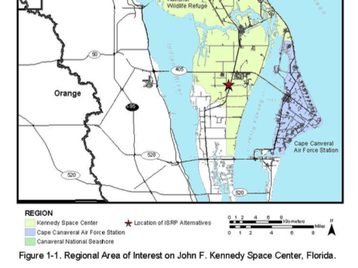 The location of Blue Origin's expansion at Kennedy Space Center's Exploration Park, marked by the red star.