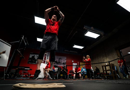 U.S. Marine Veteran Jason Mosel of Corinth, Vt., was slightly ahead of schedule by 7 p.m. Friday, March 22, 2019, at Snap Fitness in Berlin where he was attempting to set a new Guinness World Record for the most burpees performed in 12 hours to raise awareness about solider and veteran suicides.