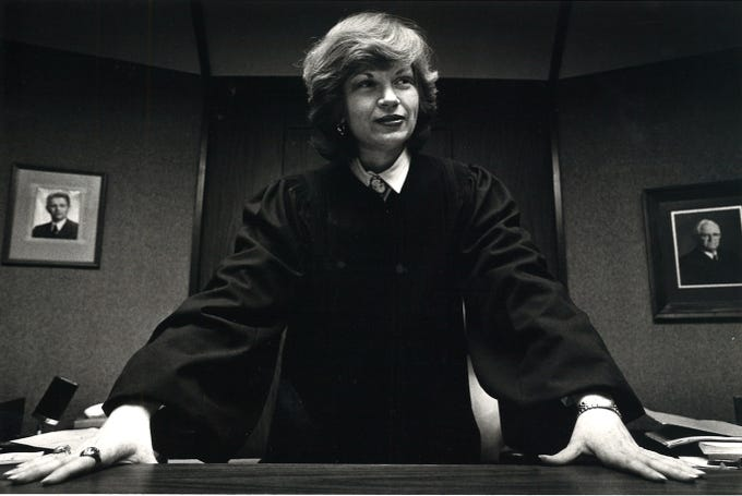 Judge Rene Haas of the 94th District Court in January 1984. She was the first woman to serve as a district judge in Nueces County.