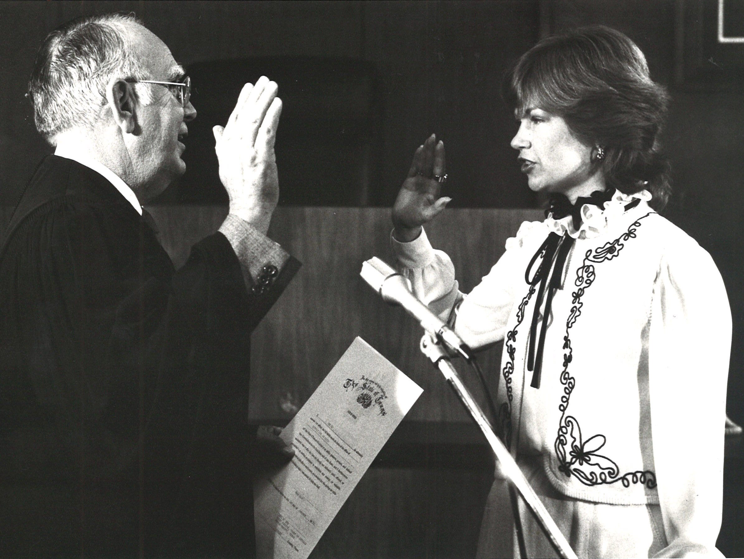 Rene Haas is sworn in as the judge of the 94th District Court on Jan. 1, 1983 in the Nueces County Courthouse. Chief Justice Paul Nye of the 13th Court of Appeals administered the oath of office.