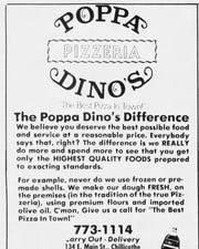 An advertisement for Poppa Dino's Pizzeria that ran in the Gazette.
