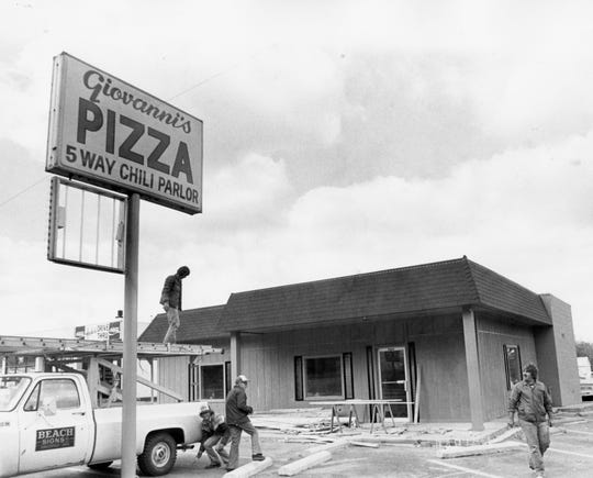 Construction work at Giovanni's new chili and pizza parlor at 423 Western Ave., is shown in this photo from October 1981.