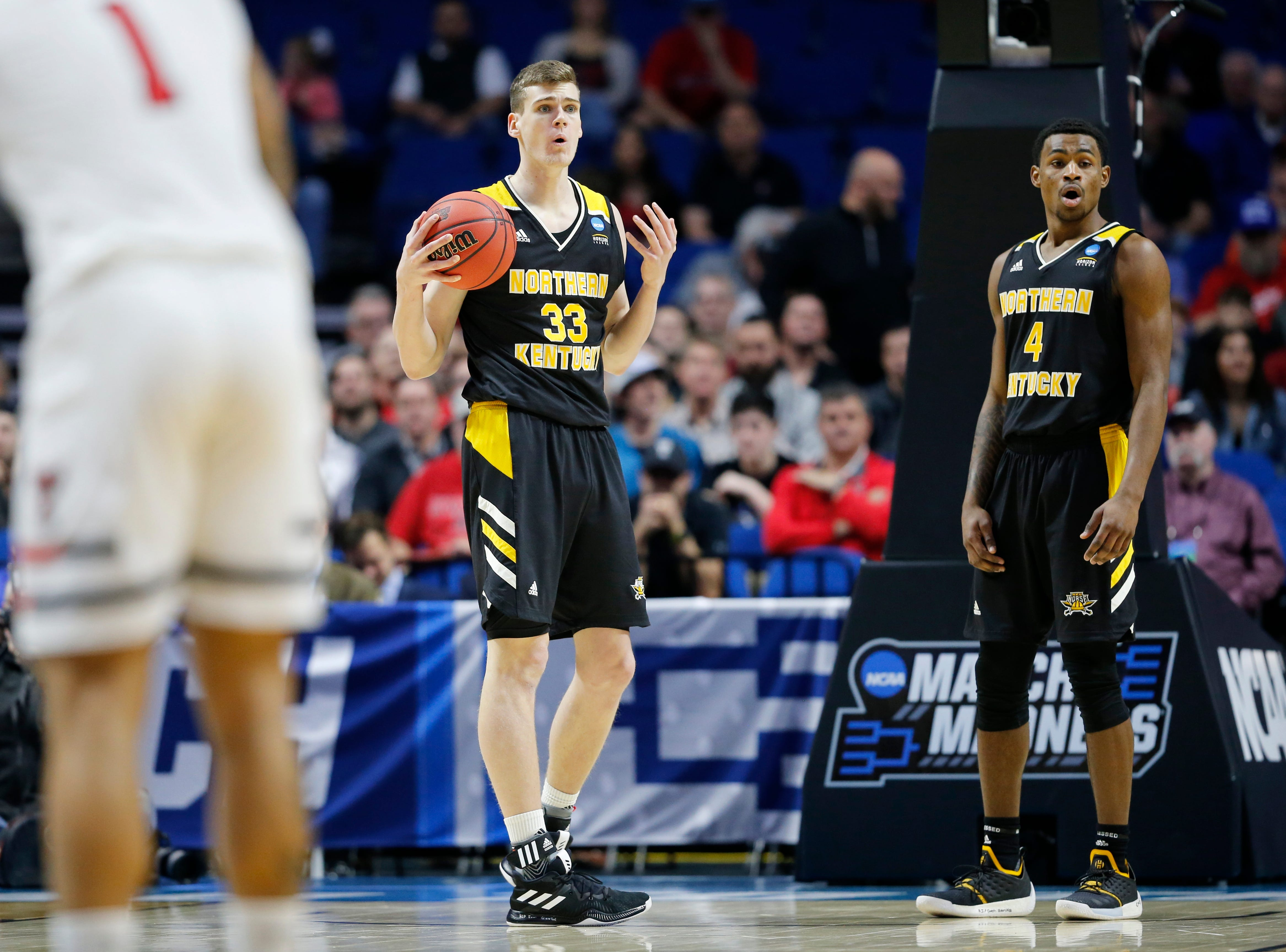 Northern Kentucky Norse center Chris Vogt (33) reacts to a foul in the first half of the NCAA Tournament First Round game between the 14-seeded Northern Kentucky Norse and the 3-seeded Texas Tech Red Raiders the BOK Center in downtown Tulsa on Friday, March 22, 2019. Texas Tech led 30-26 at halftime.