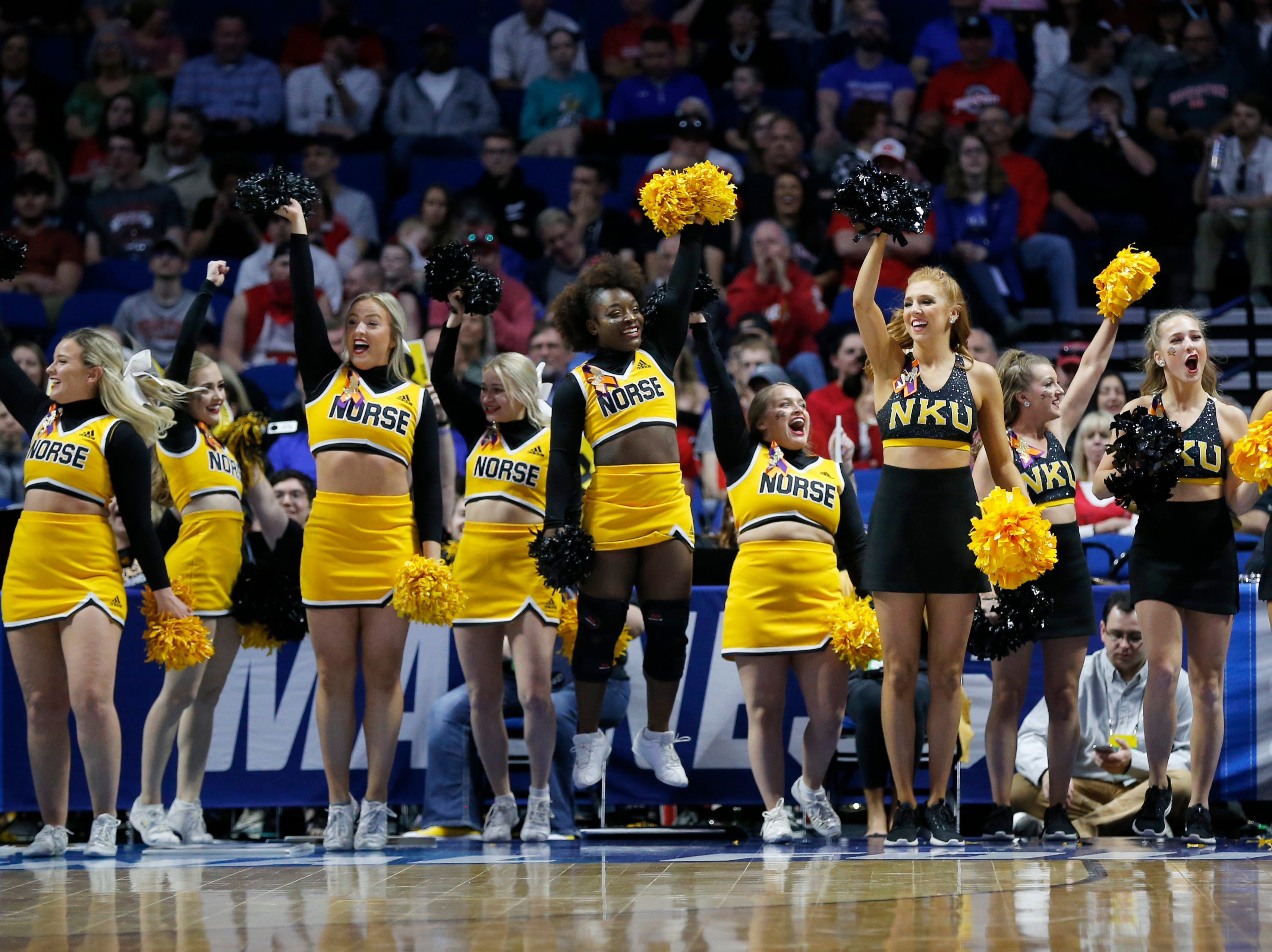 The Northern Kentucky Norse cheer and dance teams celebrate a shot in the first half of the NCAA Tournament First Round game between the 14-seeded Northern Kentucky Norse and the 3-seeded Texas Tech Red Raiders the BOK Center in downtown Tulsa on Friday, March 22, 2019. Texas Tech led 30-26 at halftime.