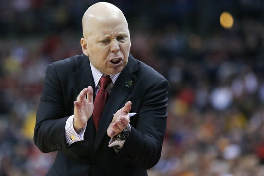 Cincinnati Bearcats head coach Mick Cronin encourages the team in the second half of the NCAA Tournament Round of 64 game against the Iowa Hawkeyes, Friday, March 22, 2019, at Nationwide Arena in Columbus, Ohio. Cincinnati Bearcats lost to the Iowa Hawkeyes 79-72.