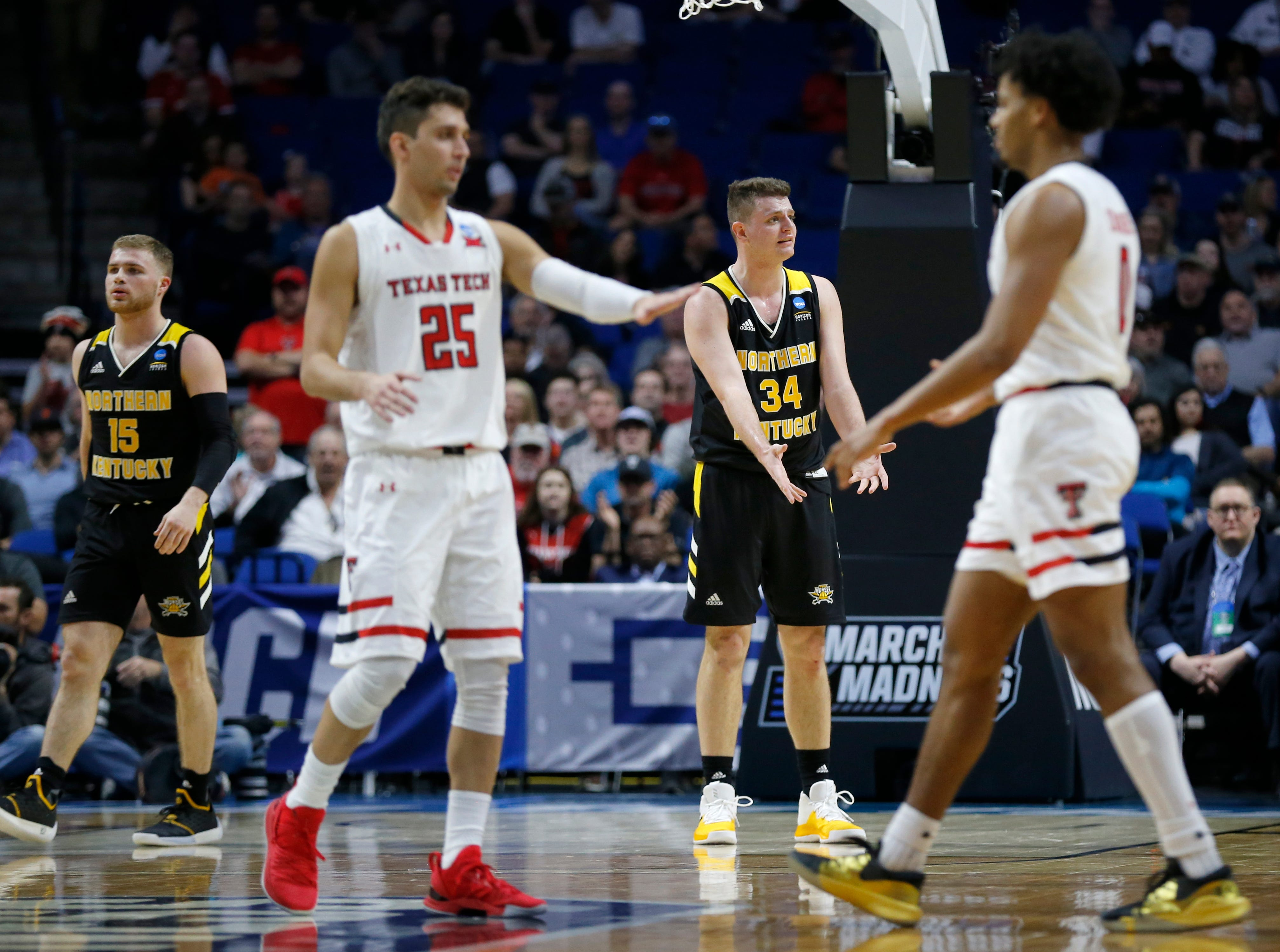 Northern Kentucky Norse forward Drew McDonald (34) reacts to a foul called against him in the first half of the NCAA Tournament First Round game between the 14-seeded Northern Kentucky Norse and the 3-seeded Texas Tech Red Raiders the BOK Center in downtown Tulsa on Friday, March 22, 2019. Texas Tech led 30-26 at halftime.