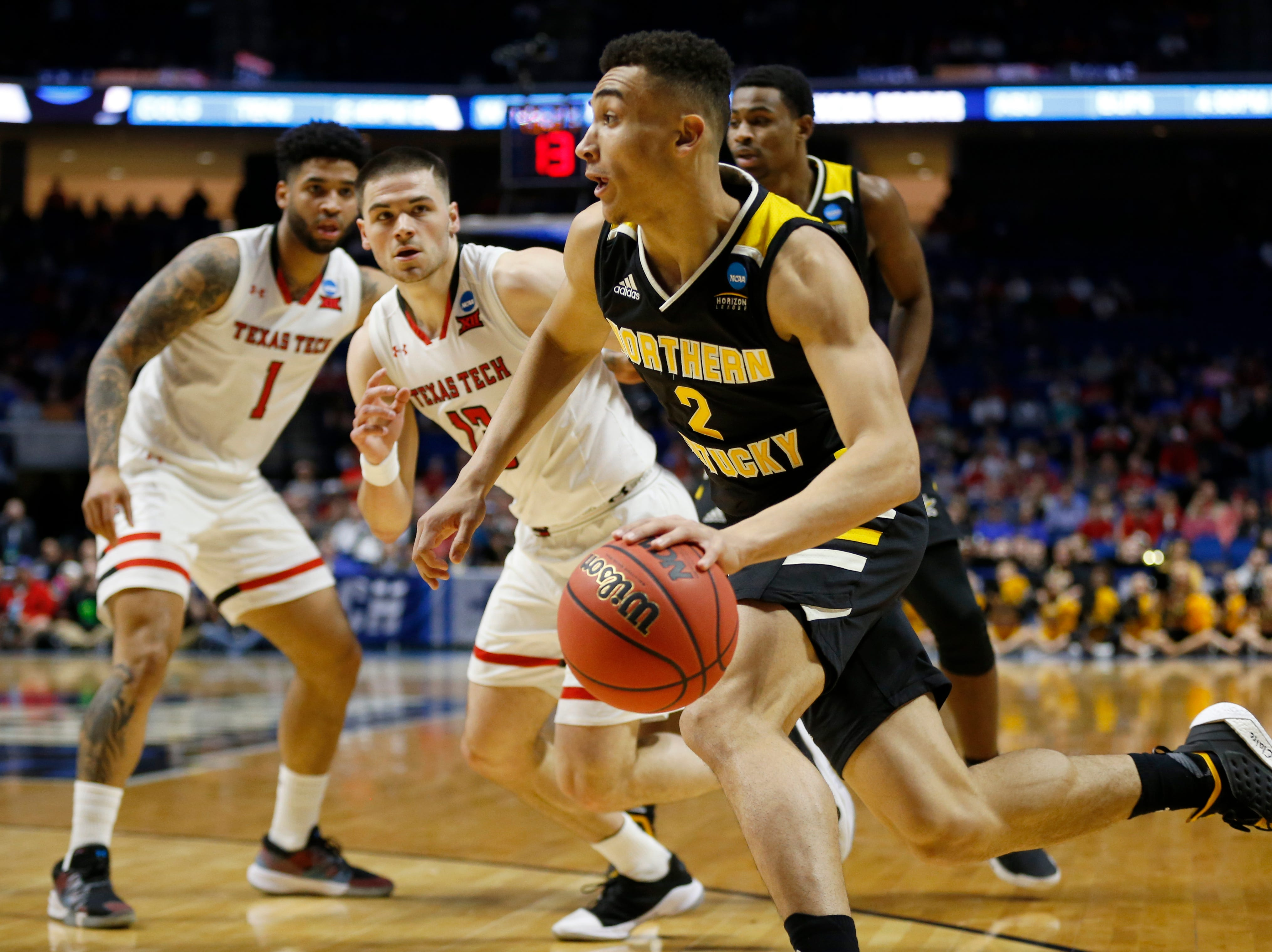 Northern Kentucky Norse guard Paul Djoko (2) drives to the basket in the first half of the NCAA Tournament First Round game between the 14-seeded Northern Kentucky Norse and the 3-seeded Texas Tech Red Raiders the BOK Center in downtown Tulsa on Friday, March 22, 2019. Texas Tech led 30-26 at halftime.