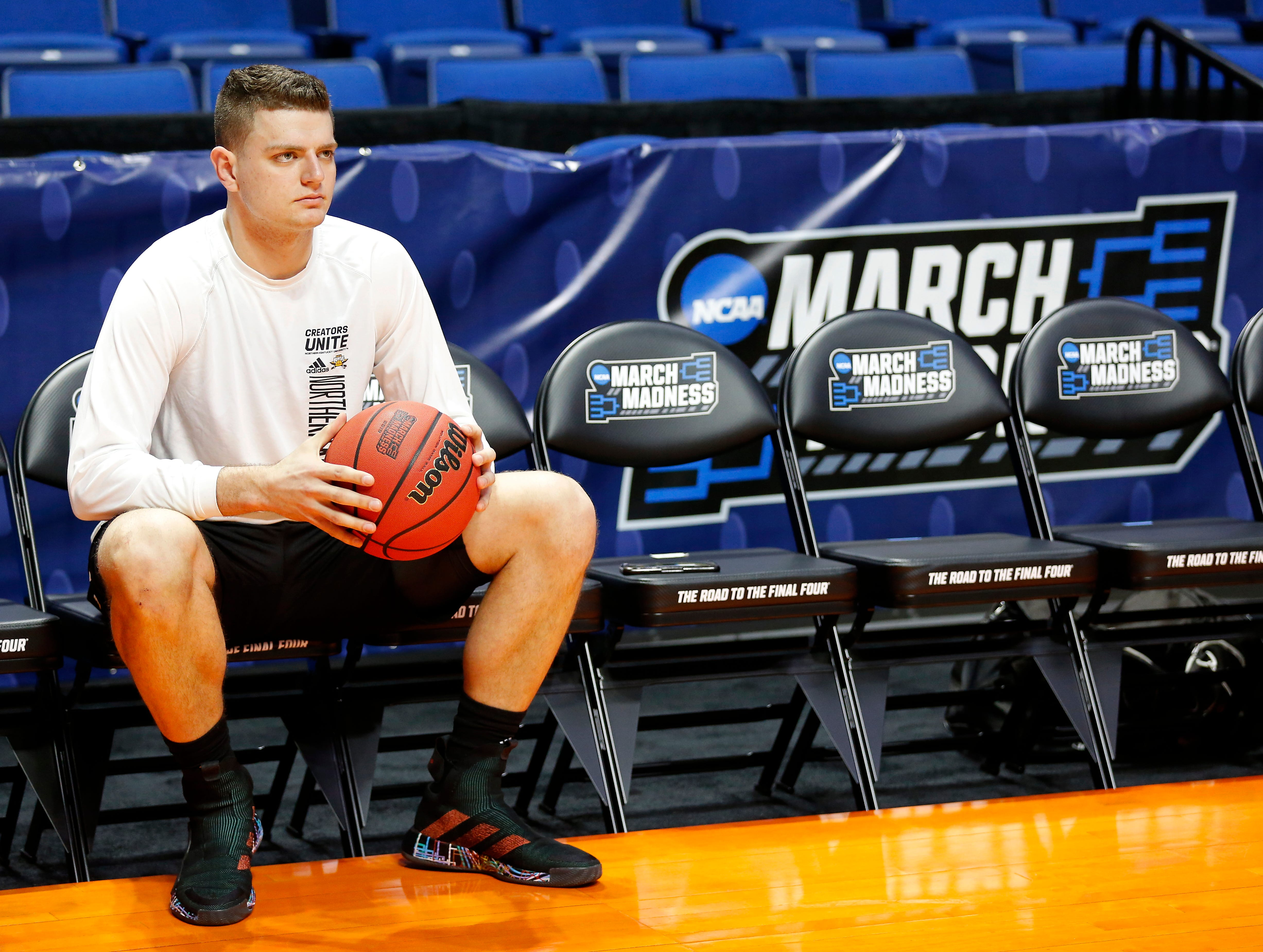 Northern Kentucky Norse forward Drew McDonald (34) has a seat between shifts during shoot around before the NCAA Tournament First Round game between the 14-seeded Northern Kentucky Norse and the 3-seeded Texas Tech Red Raiders the BOK Center in downtown Tulsa on Friday, March 22, 2019.