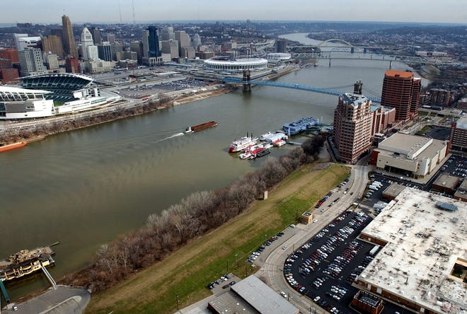 The last day for workers at the 450,000-square-foot IRS processing center, lower right, will be Sept. 28. The center on Covington's riverfront will close and become available for development.