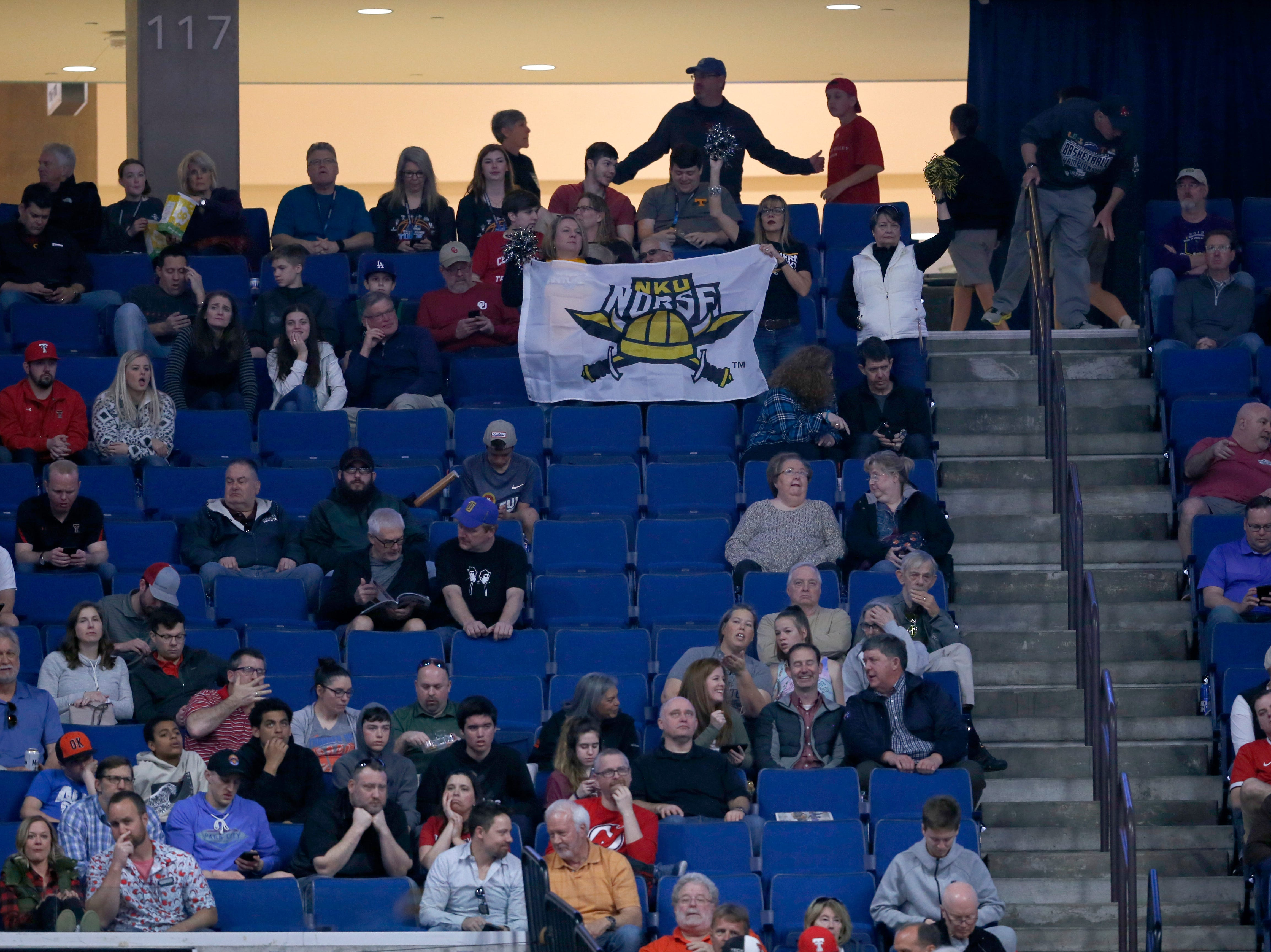 Northern Kentucky Norse fans cheer during a timeout in the first half of the NCAA Tournament First Round game between the 14-seeded Northern Kentucky Norse and the 3-seeded Texas Tech Red Raiders the BOK Center in downtown Tulsa on Friday, March 22, 2019. Texas Tech led 30-26 at halftime.