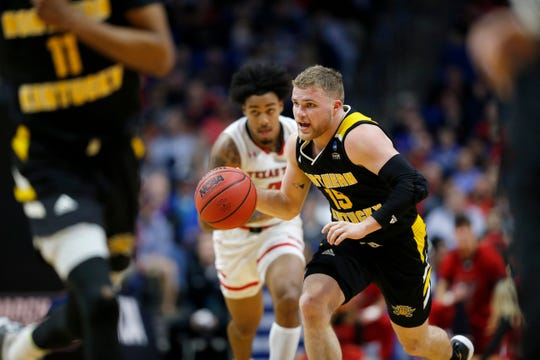 Northern Kentucky Norse guard Tyler Sharpe (15) takes over possession in the second half of the NCAA Tournament First Round game between the 14-seeded Northern Kentucky Norse and the 3-seeded Texas Tech Red Raiders the BOK Center in downtown Tulsa on Friday, March 22, 2019. NKU was knocked from the tournament with a 72-57 loss to the Red Raiders.