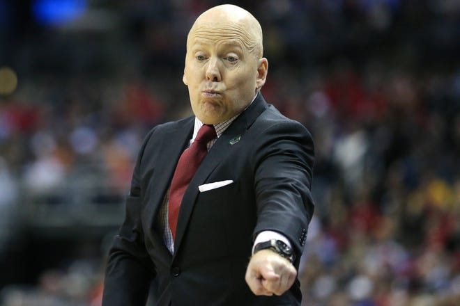 Cincinnati Bearcats head coach Mick Cronin instructs the team in the second half of the NCAA Tournament Round of 64 game, Friday, March 22, 2019, at Nationwide Arena in Columbus, Ohio. Cincinnati Bearcats lost to the Iowa Hawkeyes 79-72.
