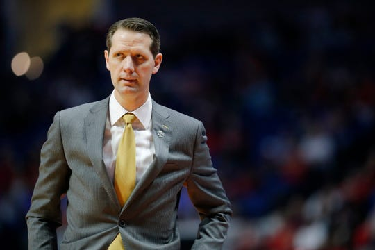 Northern Kentucky Norse head coach John Brannen shakes his head as he paces thew sideline in the second half of the NCAA Tournament First Round game between the 14-seeded Northern Kentucky Norse and the 3-seeded Texas Tech Red Raiders the BOK Center in downtown Tulsa on Friday, March 22, 2019. NKU was knocked from the tournament with a 72-57 loss to the Red Raiders.