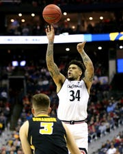 Guard Jarron Cumberland rises for a shot in the first half of the NCAA Tournament Round of 64 game against the Iowa Hawkeyes, Friday, March 22.