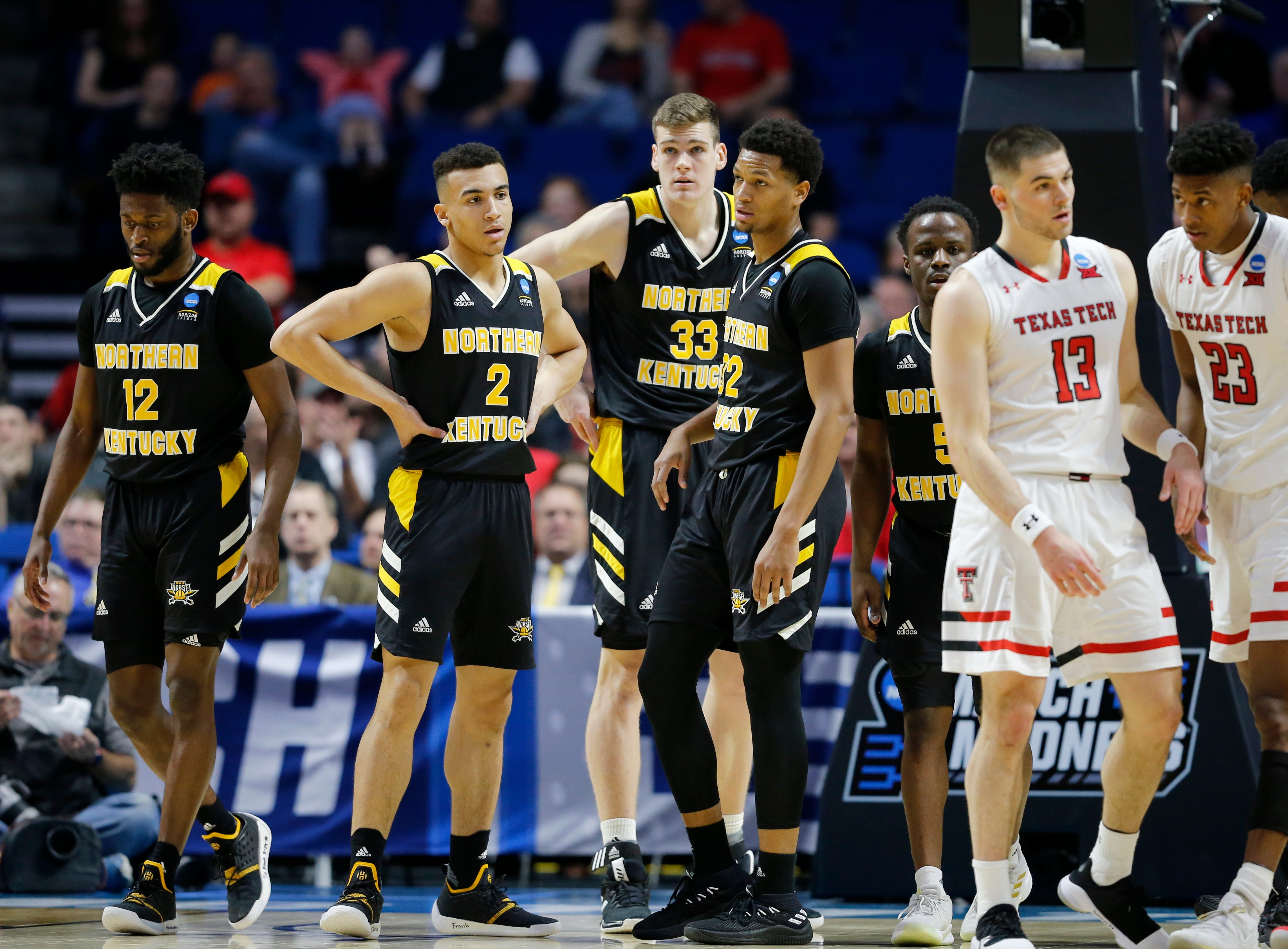 The Northern Kentucky Norse gather as play resumes in the first half of the NCAA Tournament First Round game between the 14-seeded Northern Kentucky Norse and the 3-seeded Texas Tech Red Raiders the BOK Center in downtown Tulsa on Friday, March 22, 2019. Texas Tech led 30-26 at halftime.