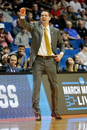 Northern Kentucky Norse head coach John Brannen shouts to his offense in the first half of the NCAA Tournament First Round game between the 14-seeded Northern Kentucky Norse and the 3-seeded Texas Tech Red Raiders the BOK Center in downtown Tulsa on Friday, March 22, 2019. Texas Tech led 30-26 at halftime.