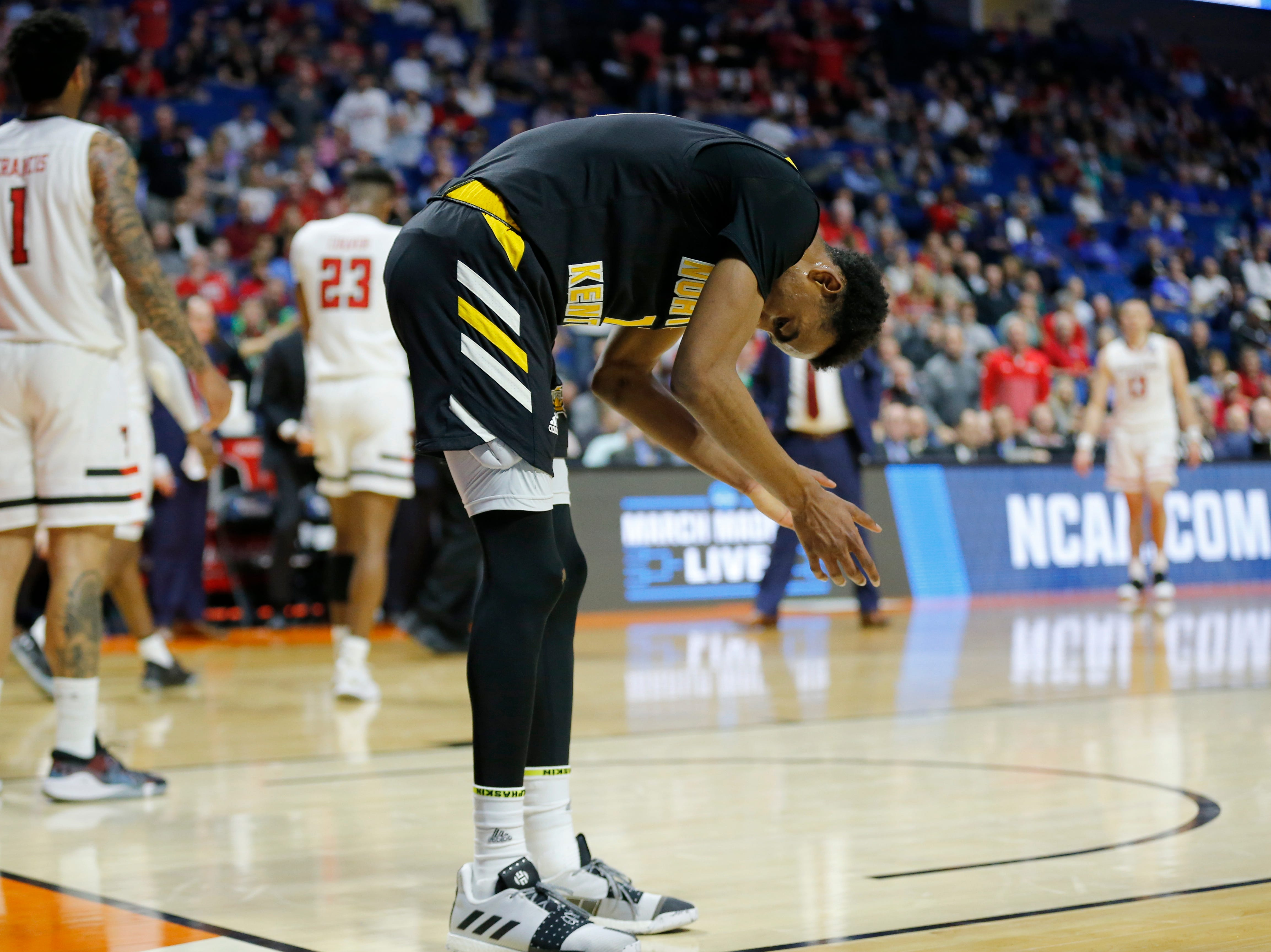 Northern Kentucky Norse guard Jalen Tate (11) gathers himself after a turnover in the first half of the NCAA Tournament First Round game between the 14-seeded Northern Kentucky Norse and the 3-seeded Texas Tech Red Raiders the BOK Center in downtown Tulsa on Friday, March 22, 2019. Texas Tech led 30-26 at halftime.