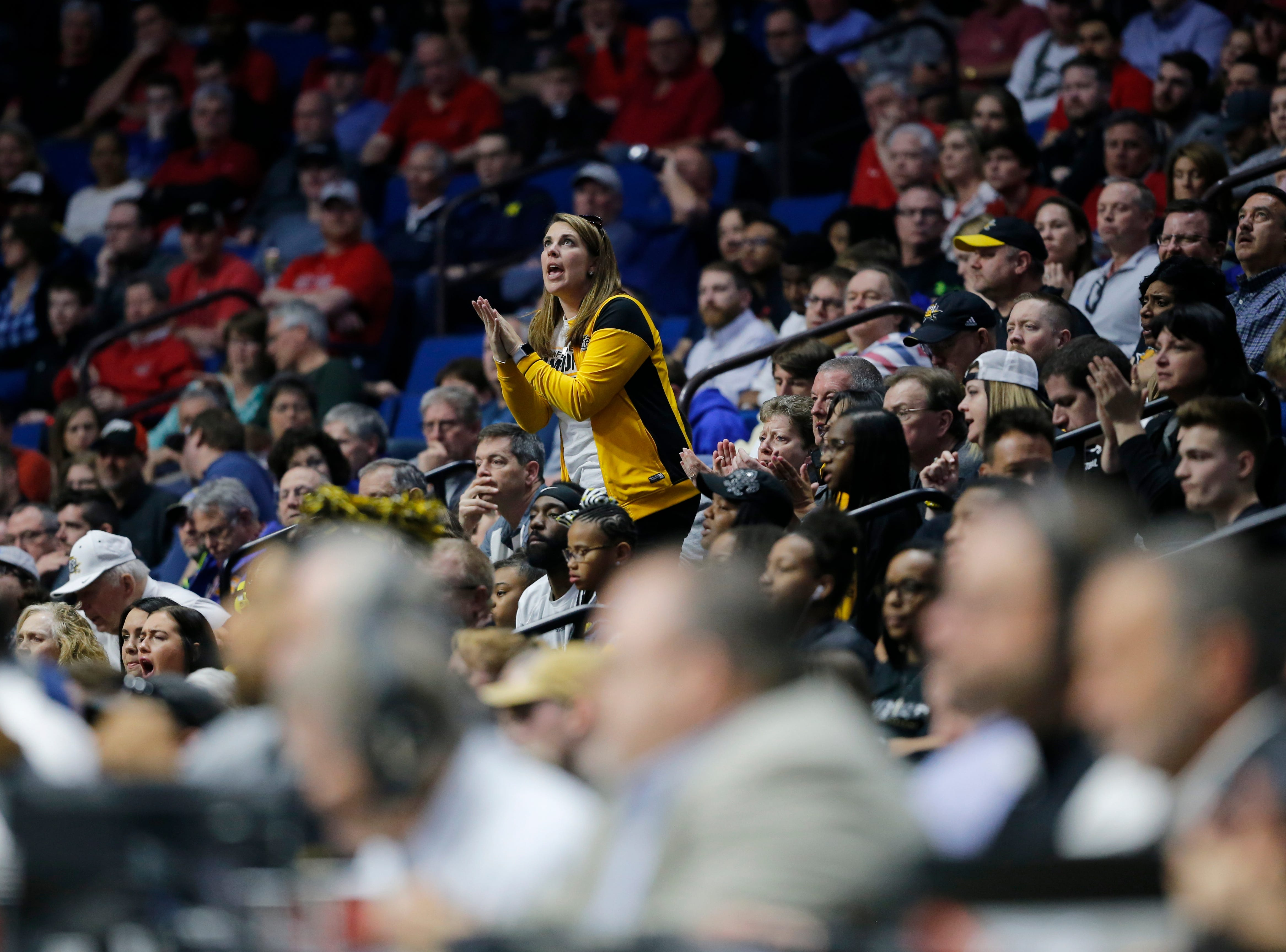 Northern Kentucky Norse fans cheer in the first half of the NCAA Tournament First Round game between the 14-seeded Northern Kentucky Norse and the 3-seeded Texas Tech Red Raiders the BOK Center in downtown Tulsa on Friday, March 22, 2019. Texas Tech led 30-26 at halftime.