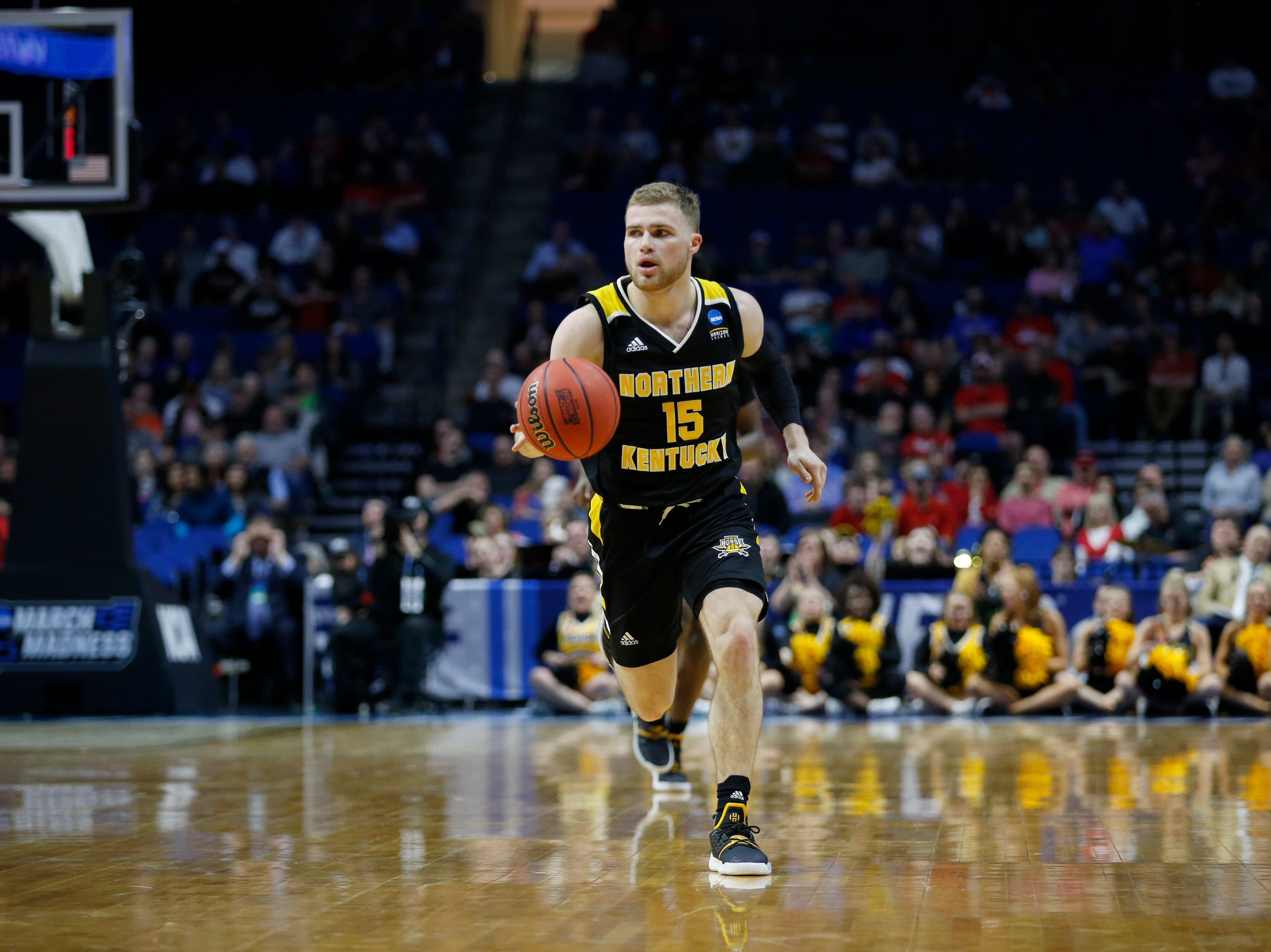 Northern Kentucky Norse guard Tyler Sharpe (15) drives down court in the first half of the NCAA Tournament First Round game between the 14-seeded Northern Kentucky Norse and the 3-seeded Texas Tech Red Raiders the BOK Center in downtown Tulsa on Friday, March 22, 2019. Texas Tech led 30-26 at halftime.