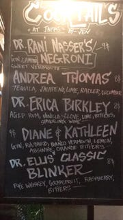 The cocktail list at Japp's with drinks named for doctors who treated manager Jen Wells