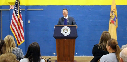 Carteret Mayor Daniel J. Reiman at Acelero Learning ceremony.