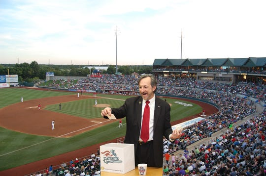 Somerset County Freeholder Director Brian D. Levine selecting the winners of the community box seats at the TD Ballpark in Bridgewater.
