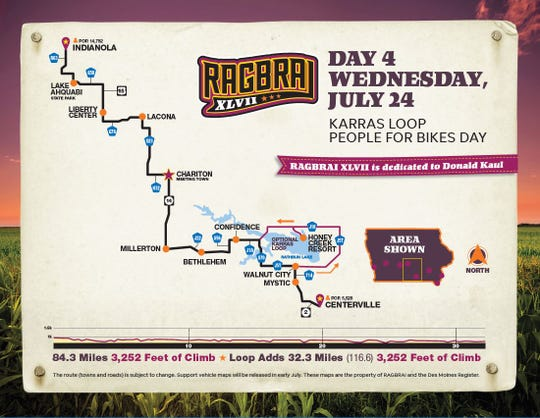 Day 4 of RAGBRAI 2019 leaves the hospitality of Indianola for the week's longest day of 84 miles with the option of adding another 32 miles to the day.