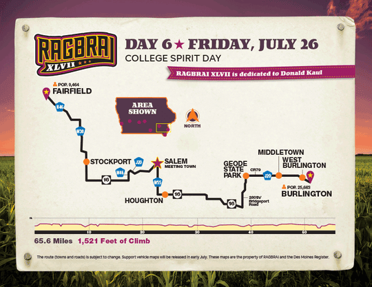 The route for the sixth day of RAGBRAI 2019.