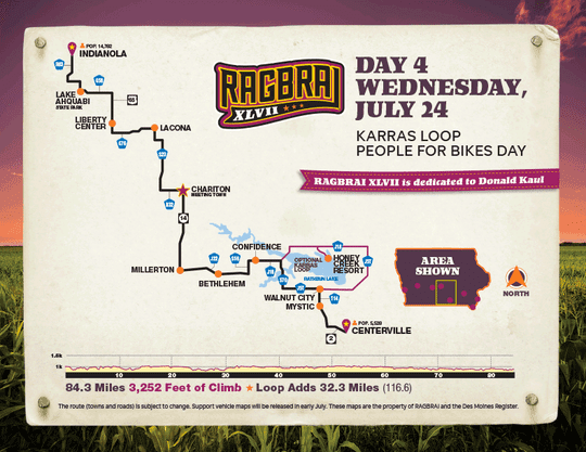 The route for the fourth day of RAGBRAI 2019.