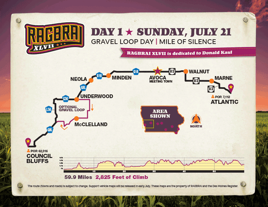 The route for the first day of RAGBRAI 2019.