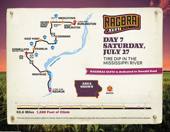 The route for the final day of RAGBRAI 2019.