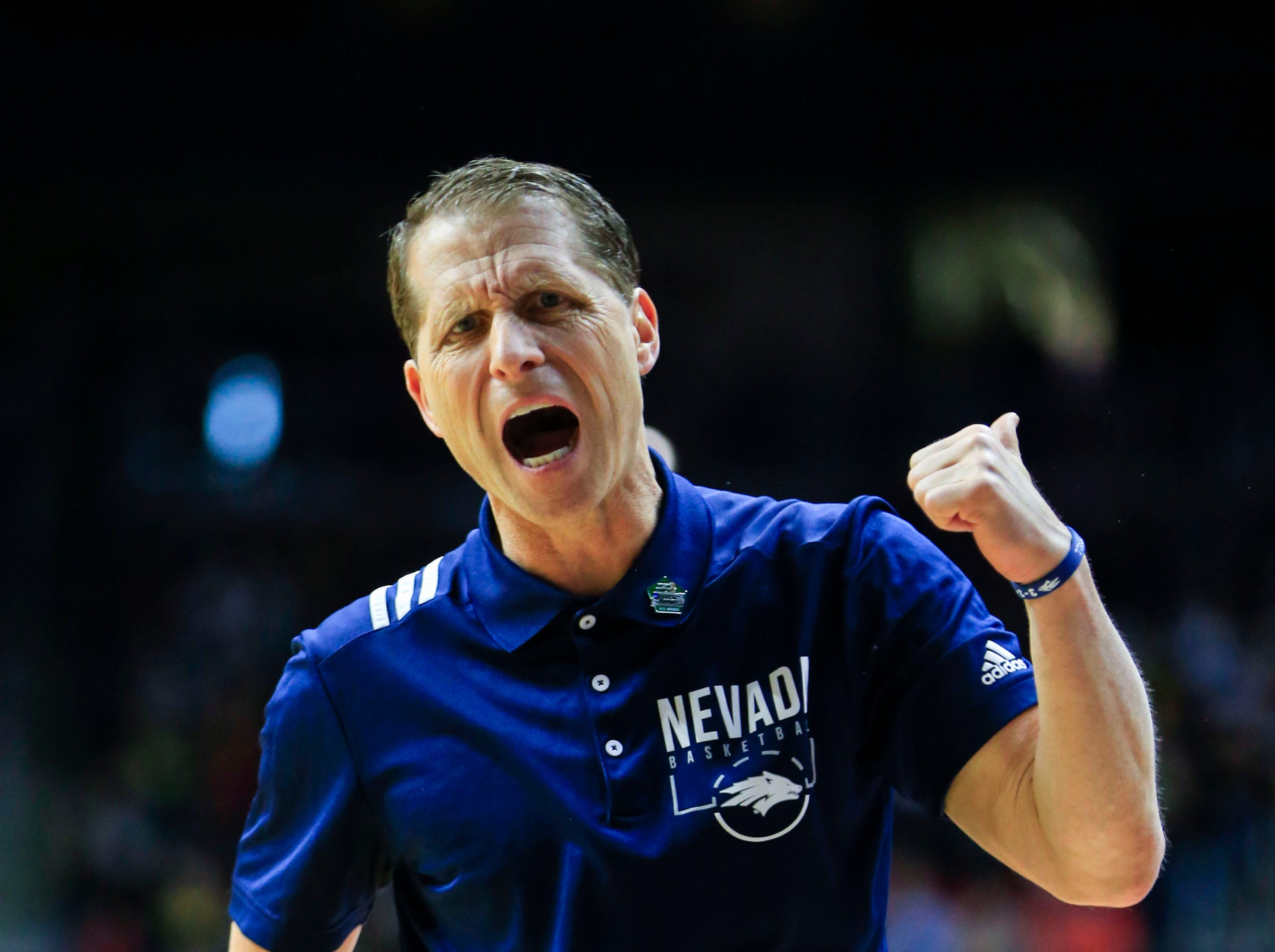 Nevada Head Coach Eric Musselman screams during the NCAA Division I Men's Basketball Championship First Round game against Florida on Thursday, March 21, 2019 in Des Moines.
