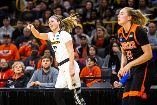 Iowa guard Makenzie Meyer (3) reacts after making a 3-point basket during a NCAA women's basketball tournament first-round game, Friday, March 22, 2019, at Carver-Hawkeye Arena in Iowa City, Iowa.