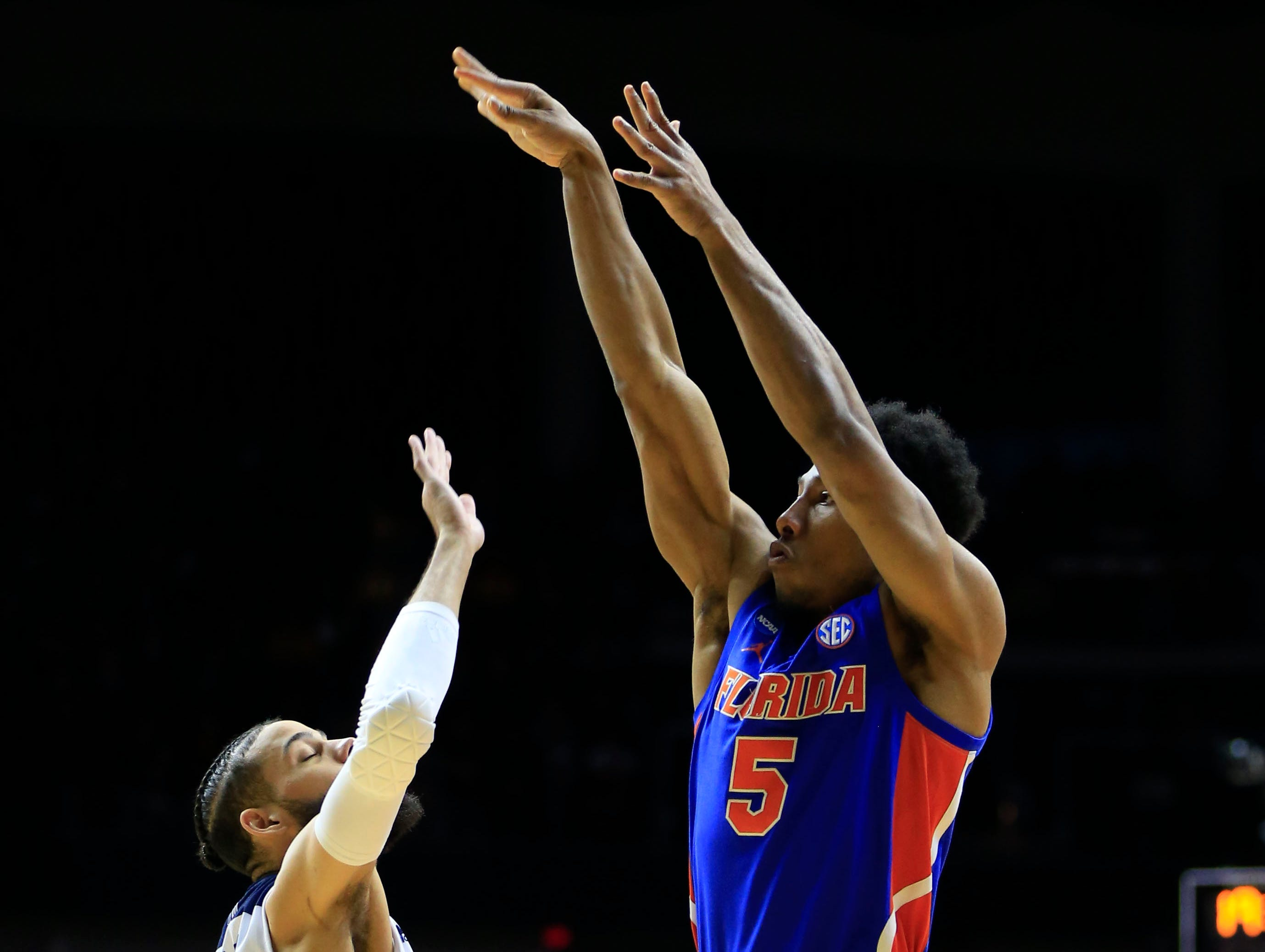 Florida guard KeVaughn Allen puts up a shot during a NCAA Division I Men's Basketball Championship First Round game against Nevada on Thursday, March 21, 2019 in Des Moines.