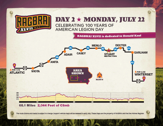 The route for the second day of RAGBRAI 2019.