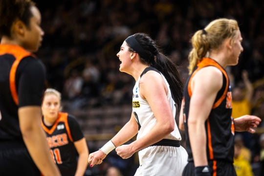 Iowa center Megan Gustafson (10) celebrates after drawing a foul during a NCAA women's basketball tournament first-round game, Friday, March 22, 2019, at Carver-Hawkeye Arena in Iowa City, Iowa.