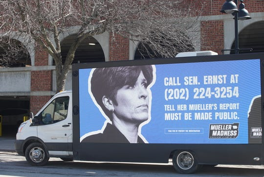 """Mueller Madness"" mobile truck, which calls on Sen. Joni Ernst to sign legislation that would make the special counsel report on President Donald Trump public, visited Des Moines Thursday afternoon for the NCAA tournament."