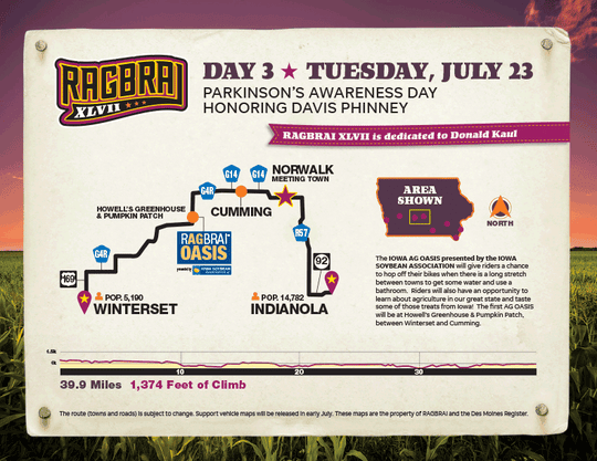 The route for the third day of RAGBRAI 2019.