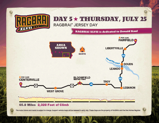 The route for the fifth day of RAGBRAI 2019.