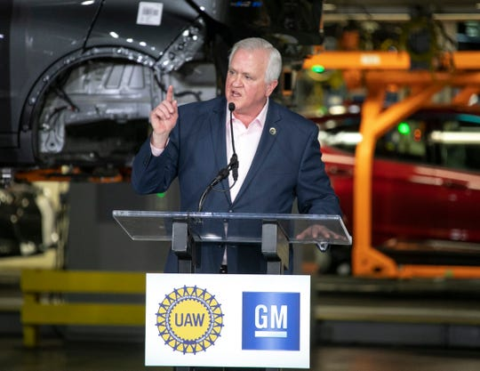 UAW Vice President Terry Dittes tells GM CEO Mary Barra the UAW appreciates the $300 million investment in the Orion Township Assembly Plant that will add 400 jobs for new Chevrolet Electric Vehicle, but has not forgotten about the four other U.S. plants GM plans to idle.