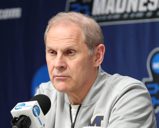 Michigan head coach John Beilein talks with reporters about their upcoming second round NCAA tournament game against Florida, Friday, March 22, 2019 at Wells Fargo Arena in Des Moines, Iowa.