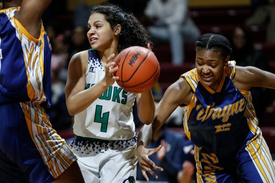 Saginaw Heritage's Moira Joiner (4) tries the pass the ball against Wayne Memorial during the first half of MHSAA girls Division 1 semifinal at Van Noord Arena in Grand Rapids, Friday, March 22, 2019.